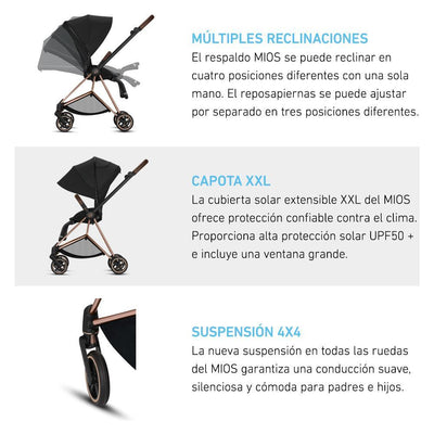 Travel System Mios Chrome Brown + Aton M + Base Cybex - Cybex-MiniNuts