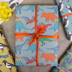 Dinosaur wrapping paper for children