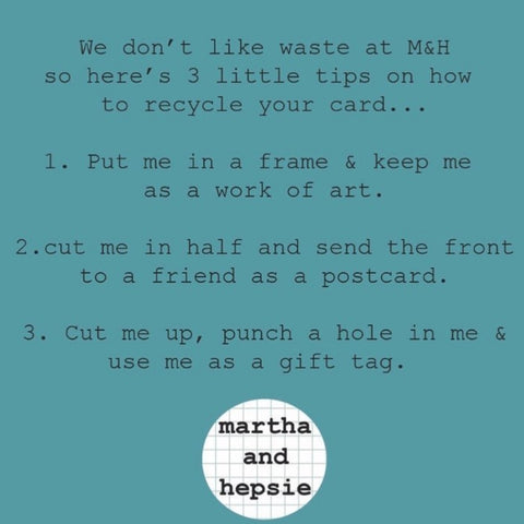 Ways to reuse a martha and hepsie greeting card