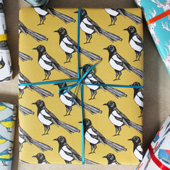 magpie wrapping paper for a teachers gift