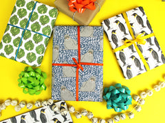 Penguin, Walrus and sprout Christmas wrapping paper