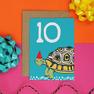 Tortoise 10th Birthday Card - Martha and Hepsie
