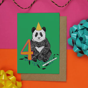 Panda 4th Birthday Card - Martha and Hepsie