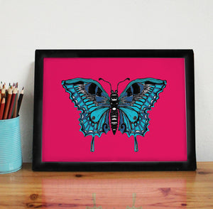Pink Butterfly A4 Art Print - Martha and Hepsie