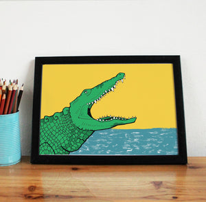 Crocodile A4 Art Print - Martha and Hepsie