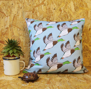 Blue Flying Ducks Cushion - Martha and Hepsie