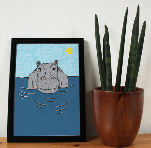Hippo A4 Art Print - Martha and Hepsie