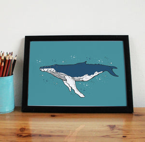 Humpback Whale A4 Art Print - Martha and Hepsie