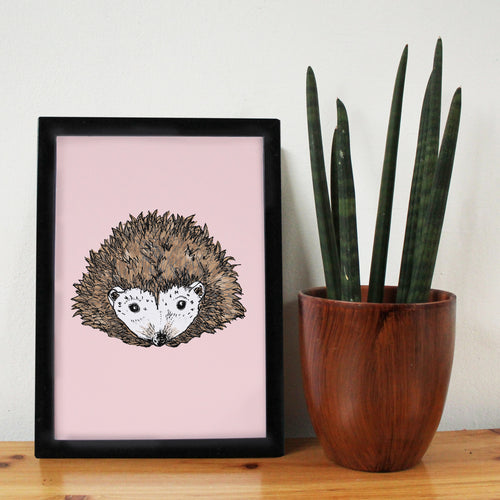 Pink Hedgehog A4 Art Print - Martha and Hepsie