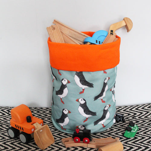 Green Puffin Storage Basket - Martha and Hepsie
