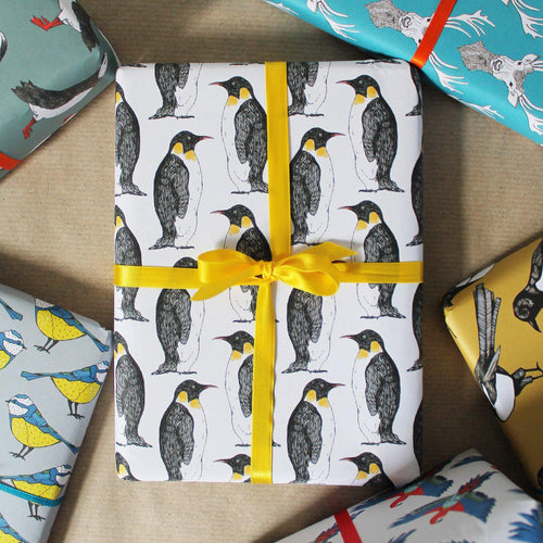 Monochrome Penguin Gift Wrap - Martha and Hepsie