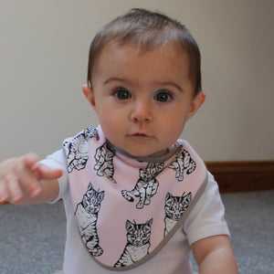 Pink Cat Dribble Bib - Martha and Hepsie