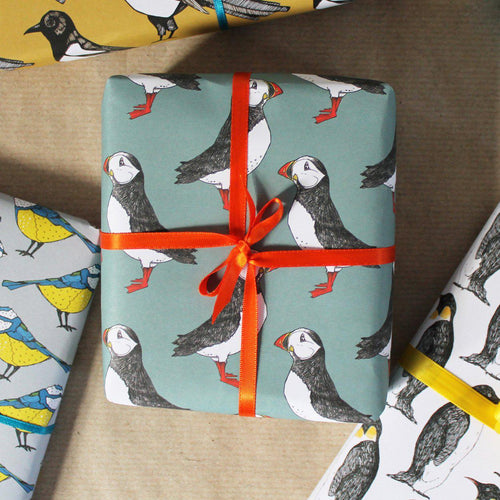 Green Puffin Gift Wrap - Martha and Hepsie