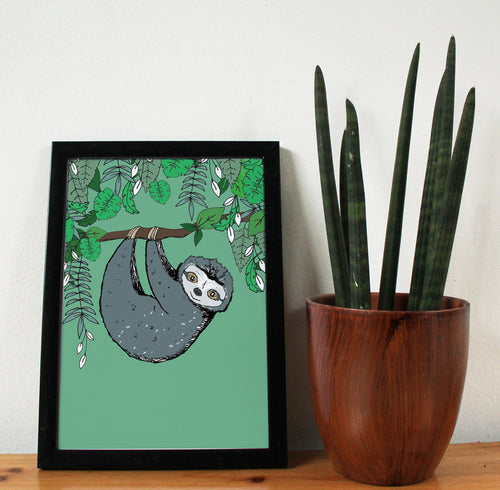 Sloth A4 Art Print - Martha and Hepsie