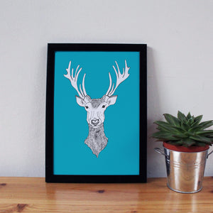A3 Stags Head Print