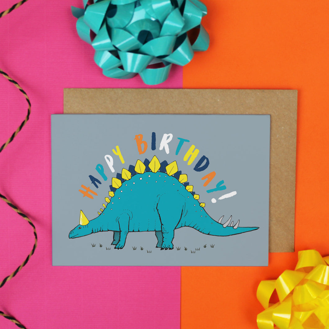 Stegosaurus Birthday Card