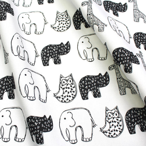 Monochrome Animal Nursery Fabric - Martha and Hepsie