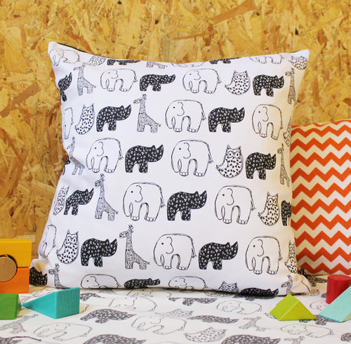 Monochrome Animals Nursery Cushion - Martha and Hepsie
