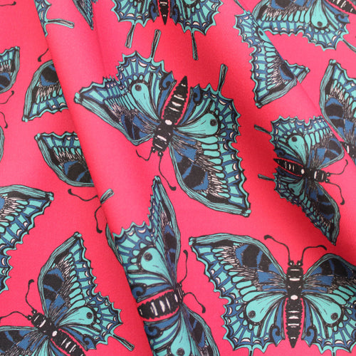 Pink Butterfly Fabric - Martha and Hepsie