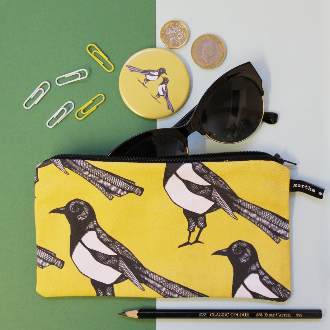 Yellow Magpie Pencil Case - Martha and Hepsie