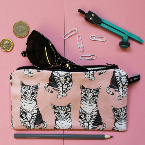 Pink Cat Pencil Case - Martha and Hepsie