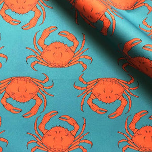 Turquoise Crab Fabric - Martha and Hepsie