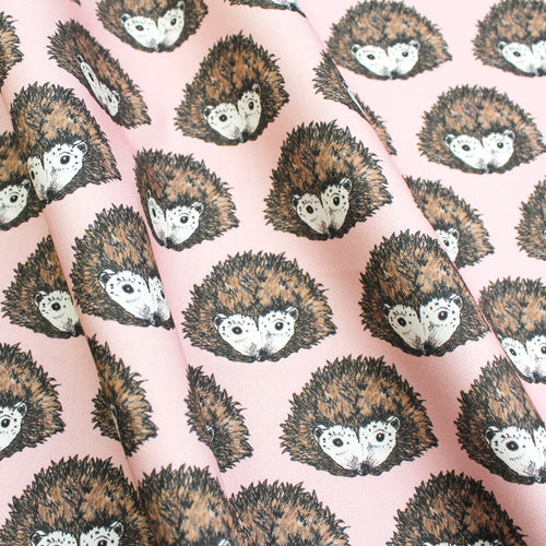 Pink Hedgehog Fabric - Martha and Hepsie