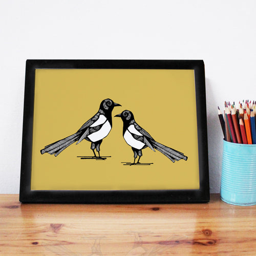 Yellow Magpie A4 Art Print - Martha and Hepsie