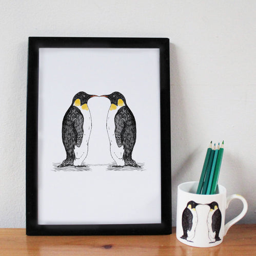 Kissing Penguins A4 Art Print - Martha and Hepsie