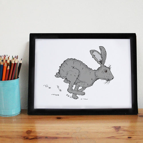 Grey Running Hare A4 Art Print - Martha and Hepsie