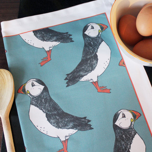 Green Puffin Tea Towel - Martha and Hepsie