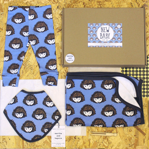 Blue Hedgehog New Baby Gift Set - Martha and Hepsie