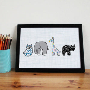 Baby Animals Nursery A4 Art Print - Martha and Hepsie