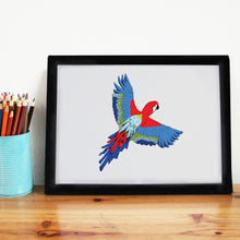 Load image into Gallery viewer, Tropical Parrot A4 Art Print - Martha and Hepsie
