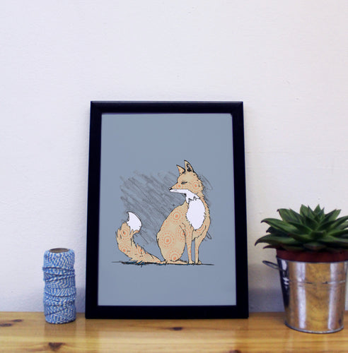 Grey Fox A4 Art Print - Martha and Hepsie