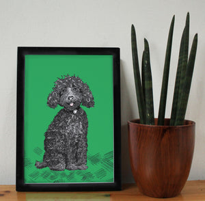 Labradoodle Dog A4 Art Print - Martha and Hepsie