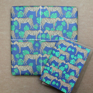 Leopard and Monstera Leaf Gift Wrap - Martha and Hepsie