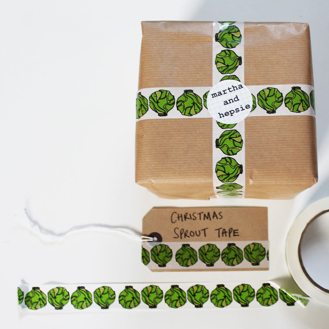 Brussels Sprout Christmas Gift Tape - Martha and Hepsie