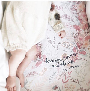 "Pre-order, ""LOVE YOU FOREVER AND ALWAYS"" - FITTED SHEETS FOR BABIES AND CHILDREN"