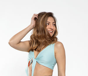 Mylo - Reversible Bikini top Light Blue and Coral