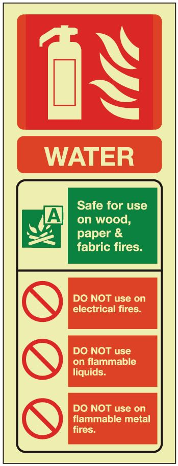 Water ID Sign - Photoluminescent 75mm x 200mm - HartsonFire