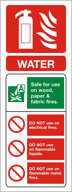 Water ID Sign - Rigid Plastic 75mm x 200mm - HartsonFire