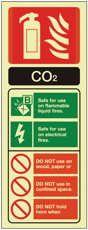 CO2 ID Sign - Photoluminescent 75mm x 200mm - HartsonFire