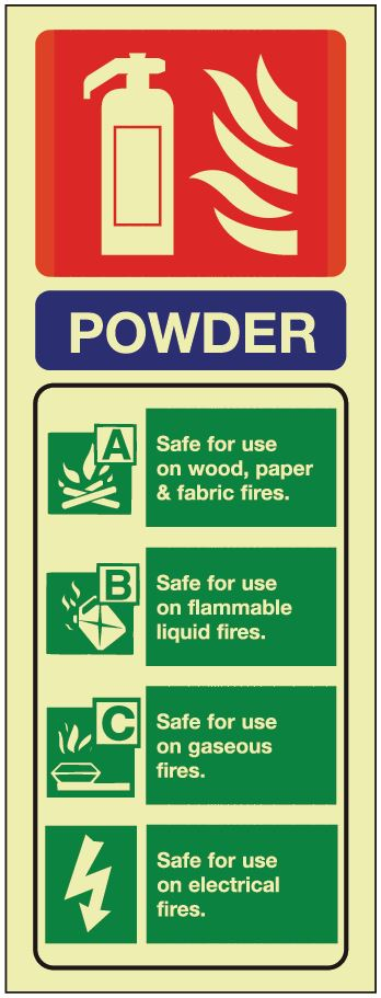 Powder ID Sign - Photoluminescent 75mm x 200mm - HartsonFire