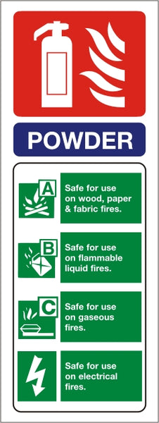 Powder ID Sign - Self Adhesive 75mm x 200mm - HartsonFire
