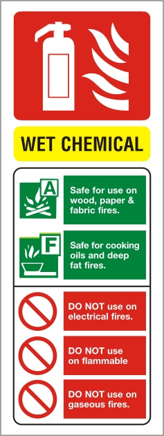 Wet Chem ID Sign - Rigid Plastic 75mm x 200mm - HartsonFire
