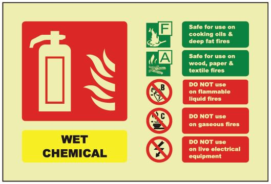 Wet Chemical ID Sign - Photoluminescent (Landscape) 150mm x 100mm - HartsonFire