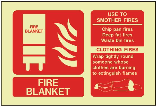 Fire Blanket ID Sign - Photoluminescent (Landscape) 150mm x 100mm - HartsonFire