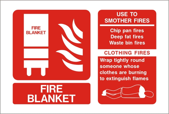 Fire Blanket ID Sign - Self Adhesive 150mm x 100mm - HartsonFire