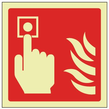 Fire Alarm Picto Sign - Photoluminescent 100mm x 100mm - HartsonFire